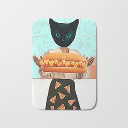 Let there be hot dogs and pizza rain Bath Mat