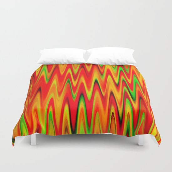 WAVY #1 (Reds, Oranges, Yellows & Greens) Duvet Cover