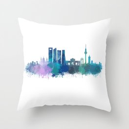 Madrid spain city splattered watercolor skyline v4bb Throw Pillow