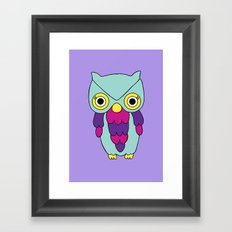 Psychedelic Woodland Turquoise Owl Framed Art Print