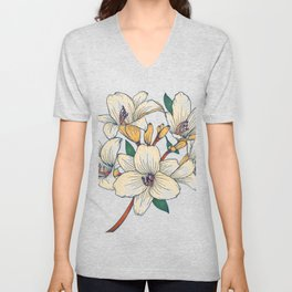 Simple White Floral Unisex V-Neck