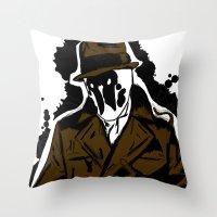 watchmen Throw Pillows featuring  Rorschach (Watchmen) by  Steve Wade ( Swade)