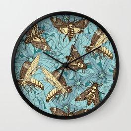 Death's-head hawkmoth teal Wall Clock