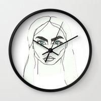 cara delevingne Wall Clocks featuring Cara delevingne by Mary Naylor