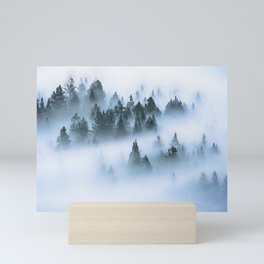 Foggy forest watercolor painting #12 Mini Art Print