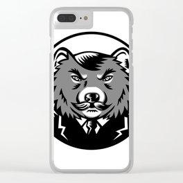 Tasmanian Devil Wearing Business Suit Woodcut Clear iPhone Case