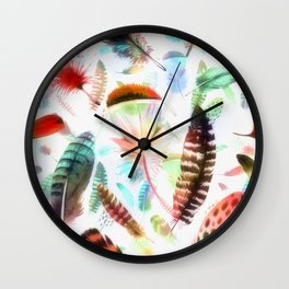 Colourful Feather Seamless Pattern On White Wall Clock
