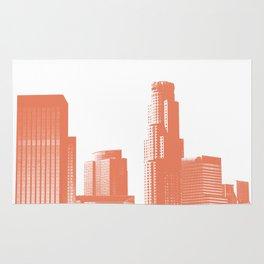 Orange Los Angeles skyline Rug