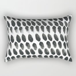 Black and White Abstract Watercolor Polka Dot Brushtrokes Painting Rectangular Pillow