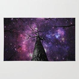 Wintry Trees Deep Purple Galaxy Skies Rug