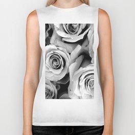 Black and White Roses Biker Tank