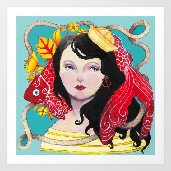 Lady Nautical Art Print