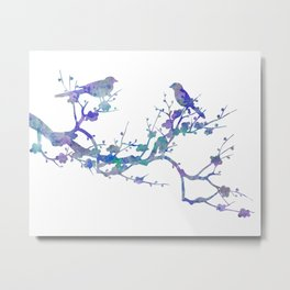 Love Birds On Floral Branch Watercolor Painting Metal Print