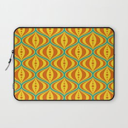 Retro Psychedelic Saucer Pattern in Orange, Yellow, Turquoise Laptop Sleeve