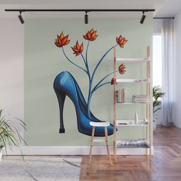 High Heel Shoe With Flowers Surreal Art Wall Mural