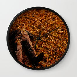 Man Lost in Autumn Leafes Wall Clock