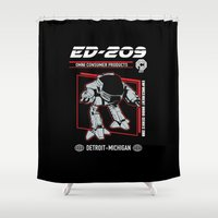 ed sheeran Shower Curtains featuring ed 209 by Buby87