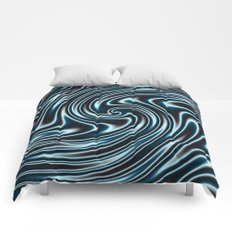 Blue and Black Licorice Ribbon Candy Fractal Comforters