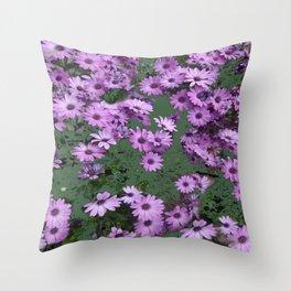 Lilac & Sage Color Purple Flowers Garden Throw Pillow