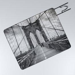 Brooklyn Bridge, New York City (rustic black & white) Picnic Blanket