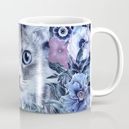 Cat In Flowers. Winter Coffee Mug