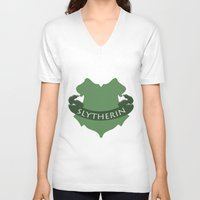 slytherin V-neck T-shirts featuring Slytherin by konchoo