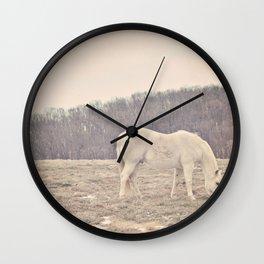 Pretty White Pony  Wall Clock