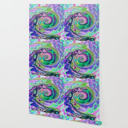 Groovy Abstract Aqua and Navy Lava Liquid Swirl Wallpaper