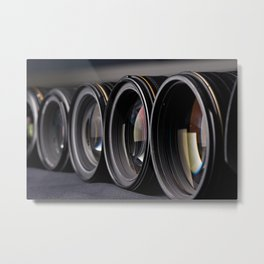 Row of photo lenses Metal Print
