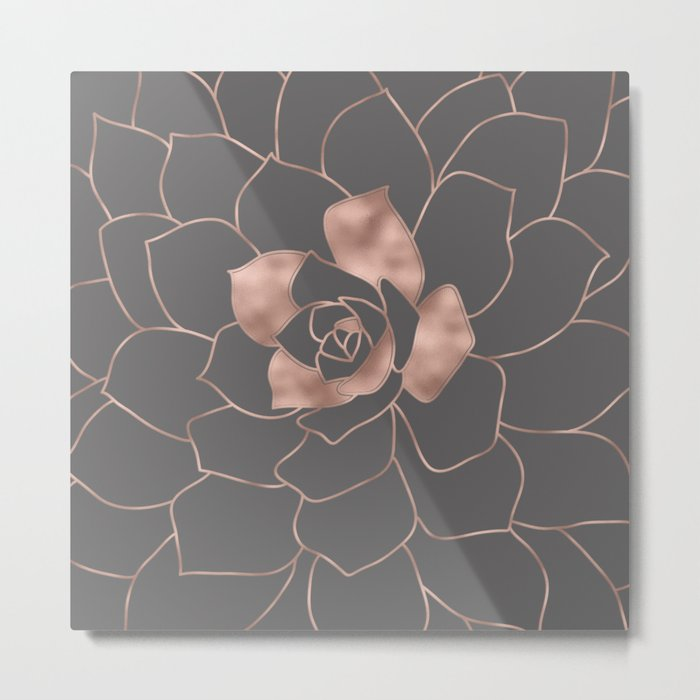 Rosegold  blossom on grey - Pink metal-effect flower Metal Print