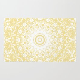 White Lace Mandala on Sunshine Yellow Background Rug