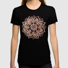 Rose Gold Mandala Black SMALL Womens Fitted Tee
