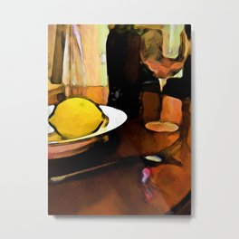 Still Life with a Lemon, Wine, a Glass and a Fork Metal Print