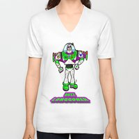 buzz lightyear V-neck T-shirts featuring Buzz Longgoner...  The spookier version of Pixar's Buzz Lightyear from Toy Story by beetoons