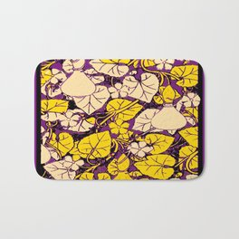 Grape Purple & Cream Garden Vines Yellow Design Bath Mat