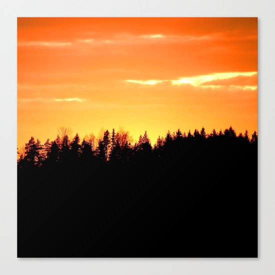 Forest Silhouette In Sunset Canvas Print