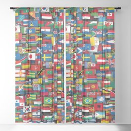 Flags of all countries of the world Sheer Curtain