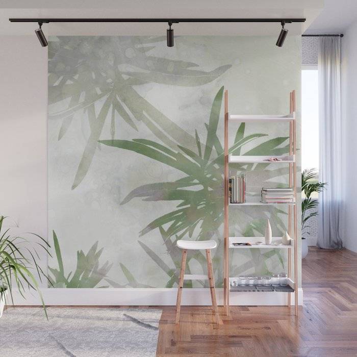 Olive Green Palm Leaves Watercolor Painting Wall Mural By Mininst
