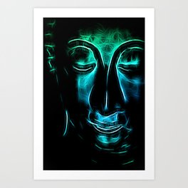 Buddha Facial cyanblue Art Print
