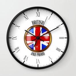 British Proud Flag Button Wall Clock