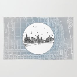 Chicago, Illinois City Skyline Illustration Drawing Rug