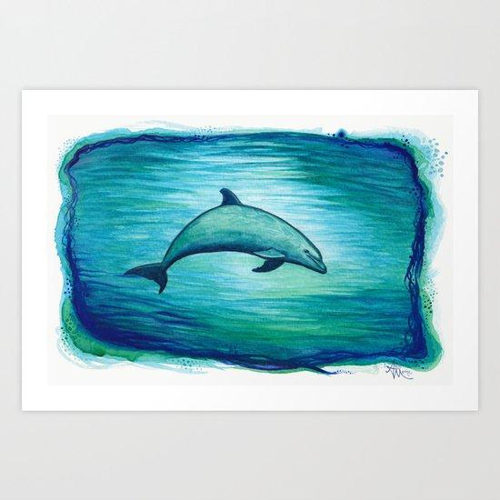 """Indigo Lagoon"" by Amber Marine ~ Watercolor Dolphin Painting, (c) 2015 Art Print"