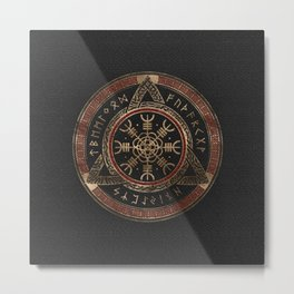 The Helm of Awe  Black and Red Leather and gold Metal Print