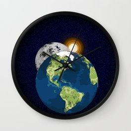 Earth Moon and Sun Wall Clock