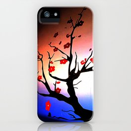 Japanese Maple Under Night Sky With Moon iPhone Case