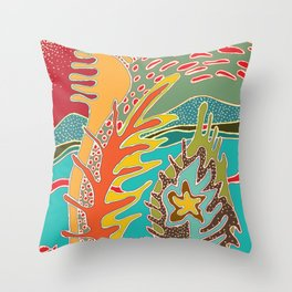sea and coral Throw Pillow