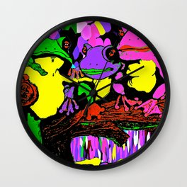 Frog Family and a Rainbow Waterfall Abstract Wall Clock
