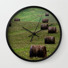 Rolls of Hay Canadian Countryside Green and Brown Print Wall Clock