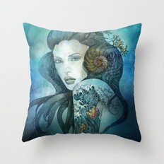 From the deep blue Throw Pillow