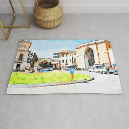 Teramo: square with monument and city gate Rug